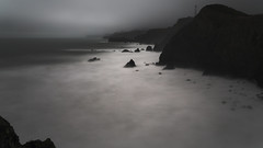 Rainy Afternoon at The Coast (fksr) Tags: ocean california longexposure landscape rocks surf gray overcast cliffs marincounty marinheadlands pacificcoast pointbonita