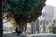 Music colors the world (purpinka) Tags: street city trees urban italy music rome roma tree rabbit colors alberi outdoors mask accordion musica albero maschera colosseo coniglio fisarmonica