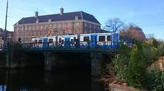 Tram & Brug 17 (Peter ( phonepics only) Eijkman) Tags: city holland netherlands amsterdam transport nederland bridges tram rail bn rails trams noordholland gvb nederlandse bruggen 12g trapkar