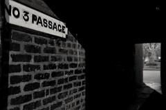 Illuminator - 31 (No 3 Passage) (L D Middleton) Tags: blackandwhite bw monochrome sign night lights fuji walk bricks walkway fujifilm passage edgeley illuminator castlestreet x100t ldmiddleton