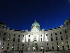 Hofburg Palace Vienna (Susannaphotographer) Tags: vienna wien travel blue sky moon church architecture night canon austria travels europa europe sightseeing royal bluesky palace luna powershot wanderlust chiesa empire destination moonlight baroque magical palazzo viaggi notte architettura palaces vacanza vacanze austrian hofburg sera palacio palazzi vagabond magica sightsee viaggiare baroquearchitecture destinazione nightcapture hofburgpalace baroquechurch baroquebuilding viennapalace wienpalace