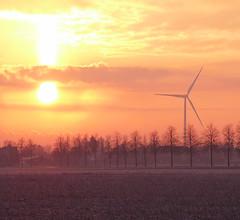 Dawn Of The New Energies (TablinumCarlson) Tags: leica orange 6 sun field wind outdoor north feld nrw landschaft windrad sonne sonnenaufgang nordrheinwestfalen rheinland neuss dlux allee sunraise windmhle windenergie rhinewestphalia bttgen glehn sonnenenergie energiewende lttenglehn epsendorf