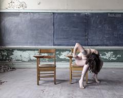 The Next One Down the Line (sadandbeautiful (Sarah)) Tags: school woman selfportrait abandoned me female self classroom pa permission urbex jwcooper