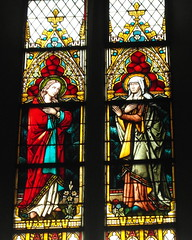 puck gothic church (4) (kexi) Tags: old red 2 two church window glass colors june vertical ancient couple interior pair gothic saints samsung poland polska stainedglass polen puck polonia pomerania pologne 2015 instantfave witraz wb690