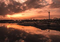 Burning Skyline / Explored Thank you all! (Fredrik Lindedal) Tags: ocean sunset sky sun sunlight reflection clouds nikon rocks glow sweden windmills sverige sunrays calmness