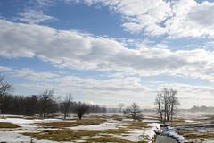 spring green reverie (Barbara A. White) Tags: snow ontario canada clouds landscape march spring stream farmland woodlawn springmelt kilmaus