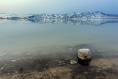 0315 The Blocky Rock (Hrvoje Simich - gaZZda) Tags: blue winter mountain lake snow reflection water rock landscape nikon bosnia hill herzegovina blidinje nikond750 gazzda hrovjesimich sigmaart2414