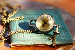 Guilty Pleasures (kkirby864) Tags: clock vintage book necklace antique watch guiltypleasure smallitems