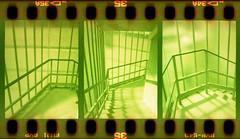 Moore Street Substation Stairs (pho-Tony) Tags: street film architecture stairs 35mm concrete crossprocessed fuji cross slide ishootfilm holes moore velvia bunker frame half electricity jefferson 1968 analogue halfframe 50 expired processed e6 yashica substation brutalism listed sprocket fujivelvia c41 yashinon reinforcedconcrete nationalgrid mimy sheard filmisnotdead tetenal yashicamimy gradeiilisted moorestreetelectricitysubstation