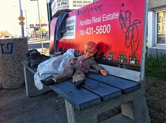 Rough Night, Rougher Morning. (Mister Day) Tags: bus bench weird doll edmonton odd lonely discarded dummy