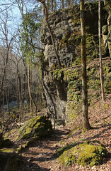 Cliff, Clifton Gorge  Miami Township, Greene County, Ohio (Pythaglio) Tags: county trees ohio nature sign stone moss spring rocks state miami path scenic boulders trail gorge hikers lovely greene preserve clifton pathway pleasant township