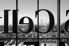 Cell View (Andy Marfia) Tags: park windows blackandwhite bw chicago glass skyline baseball searstower lettering f56 bridgeport uscellularfield iso125 1400sec sonyrx100