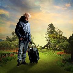 Boy in the garden (jaci XIII) Tags: boy tree garden landscape paisagem jardim suitcase rvore mala menino