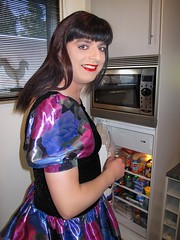 Fridge (Paula Satijn) Tags: blue girl shiny dress silk skirt tgirl transvestite satin miniskirt gulr