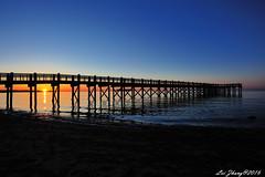 Connecticut Sunrise (femtoe) Tags: blue sky beach sunrise pier connecticut