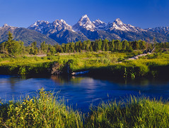 Grand Teton National Park  (P) (EducationUSA Photo Albums) Tags: blue summer sky usa cloud sunlight mountain plant west green nature water grass fence landscape outdoors nationalpark unitedstates meadow clr panoramic nb snowcapped northamerica environment remote rockymountains wyoming majestic jacksonhole scenics hz clearsky steep py tetonrange mountainrange tranquilscene grandtetonnationalpark wildernessarea westernusa mountainpeak ruralscene beautyinnature extremeterrain grassarea