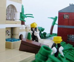 The Music Box (gid617) Tags: trees houses white black green grass stairs climb carriage lego palm laurel hardy mansions microscale
