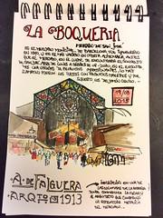 Mercado de La Boqueria, Barcelona (danielagalliski) Tags: barcelona urban ink watercolor journal mercado boqueria scketchbook