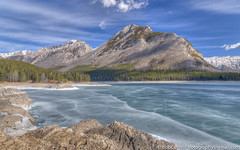 Frozen in Time (westrock-bob) Tags: trees winter copyright mountain lake canada ice pine canon river outdoors frozen nationalpark spring rocks peaceful ab alberta rockymountains spruce 6d minnewanka cuthill canon6d bobcuthillphotographygmailcom bobcuthill bobcuthillphotography