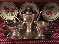5. Clean and Shiny (Foxy Belle) Tags: set fruit silver tea sale garage william wm triumph portmeirion plates sterling roger find bargain sons