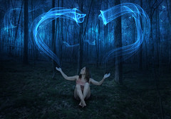 Girl in the woods (kenny.db) Tags: wood woman tree cute feet girl beautiful grass magic alien manipulation mystic