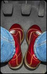 Drive, Dr Martens Cappers. (CWhatPhotos) Tags: pictures camera blue original red color car leather that cherry photography boot cool foto hole image boots artistic pics dr seat picture pic olympus images well have jeans photographs photograph ii fotos colored brake pedals clutch doc marten which soles dm eight mk laces pedal contain omd bouncing airwair mkii docmartens martens dms oxblood em10 capper bouncingsoles acellerator cwhatphotos capperboot