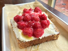 Ricotta and sour raspberry toast (Herman Saksono) Tags: boston cheese toast raspberry ricotta southend ricottacheese southendbuttery sourraspberry raspberrytoast