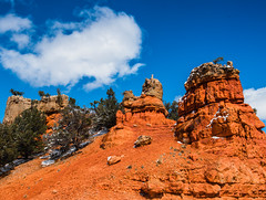 Bryce Canyon 2 (MarcCooper_1950) Tags: trees red sky orange snow colors clouds landscape utah nikon scenery rocks vivid canyon cliffs hills southern boulders hoodoo bryce rainfall hdr formations lightroom mounatins brycecanyonnationalpark geologic d810 marccooper