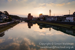 smw-20160301-029-enfuse (swaldman-firecloud) Tags: city morning sky urban reflection water japan clouds sunrise reflections river dawn town still peaceful calm saga stillness cloudscape waterway imari