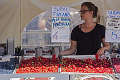 Red fruits (matthew_nan) Tags: red woman girl fruits shop fruit finland shopping helsinki strawberry market strawberries raspberry local raspberries redfruit localmarket redfruits matthewnan