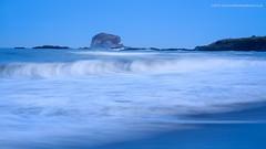 Blue Bass (Damon Finlay) Tags: sunset seascape water rock landscape coast scotland movement rocks fuji bass north east forth horseshoe northberwick berwick fujinon lothian firth firthofforth bassrock eastlothian xe1 watermovement fujixe1 xf55200mm xf55200mmfujinon