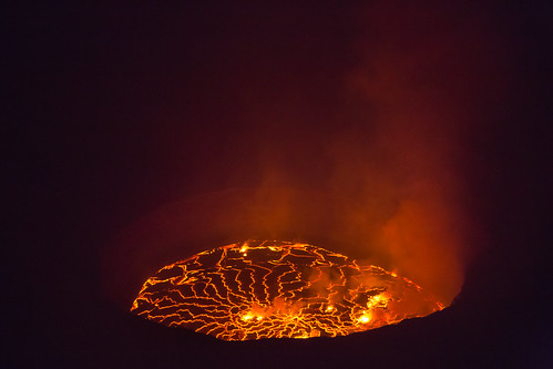 Lava by night, Nyiragongo volcano in eastern DRC