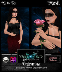 [TLG] Valentina - Seductive Velvet & Leather Outfit Ad (Eveila RavenWinter - (Eveila.Blackheart)) Tags: new glass beautiful leather price night photography outfit day looking darkness mesh lace top bottom makeup velvet special v valentines accessories through date items coming blackheart bd soon necklaces included masqurade tlg seperate valetina eveila intoductry