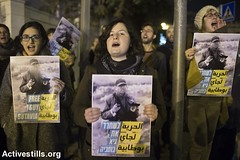 Solidarity protest with anti occupation activists, Russian compound police station, West Jerusalem, 21.1.2016 (activestills) Tags: jerusalem protest demonstration policestation arrest occupation politicalprisoners orenziv topimages southhebronhills taayushgroup prisonerssolidarity
