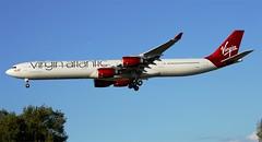 """Virgin Atlantic A340-600 """"Varga Girl"""" (G-VGAS) LAX Approach 216 (hsckcwong) Tags: lax virginatlantic a340600 vargagirl virginatlanticairways gvgas"""
