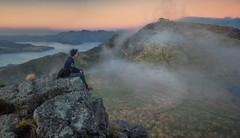 Selfie with the Gondola (DanielBartolo) Tags: morning newzealand mountain sunrise stars landscape rocks foggy hills gondola goldenhour porthills chrischurch purenewzealand danielbartolo