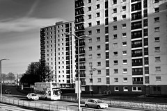 St James Street Flats, Doncaster. (ManOfYorkshire) Tags: road street bw bus buses monochrome concrete living volvo town high apartments traffic streetlamps centre group dream first flats vision fencing artery wright 1960s 1970s rise gemini celeveland