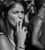 In Hebrew, the term for envious is 'Narrow eyed' (ybiberman) Tags: party portrait bw girl monochrome israel cigarette candid jerusalem streetphotography smoking techno bliss cityrave2 shivaxvsagneton