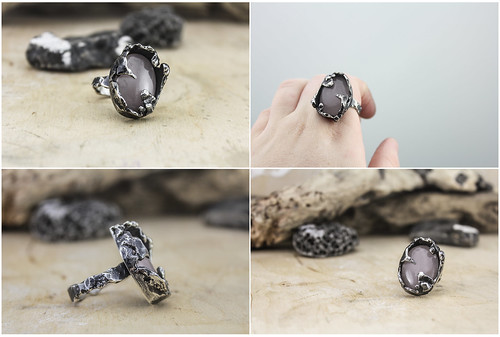 Statement ring - silver and rose quartz. Size 9