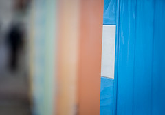 32/366 Beach Huts - 366 Project 2 - 2016 (dorsetpeach) Tags: blue orange storm beach sussex wind windy hut esplanade beachhut 365 seaford 2016 366 aphotoadayforayear 366project second365project
