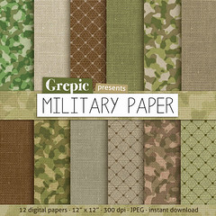 "SALE 50% Military paper pack: ""MILITARY PAPER"" with army & military papers, green linen and camouflage patterns for scrapbooking, (workyourart) Tags: brown green digital paper army grey linen military olive camo camouflage"