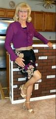 Purple Blouse (bobbievnc) Tags: highheels skirt blouse tgirl heels p pantyhose crossdresser shortskirt tightskirt tanpantyhose pantyhoselegs purpleblouse