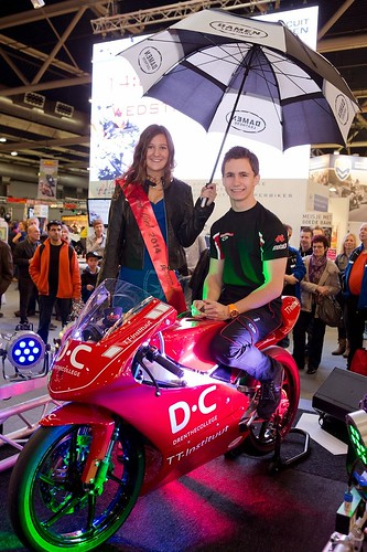 100mm Rood lint met Zwart Bedrukt Grid Girl 2014 Motorbeurs Utrecht TT Circuit Assen