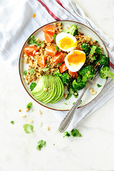 Quinoa salad with broccoli and lentils (Studio Kuchnia) Tags: family food avocado salad healthy nikon broccoli eggs quinoa onwhite lentils lentil foodphotography powerfood