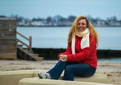 Wanda on the Wall (tquist24) Tags: ocean winter red portrait sky woman beach girl wall geotagged nikon unitedstates bokeh connecticut depthoffield oldsaybrook nikond5300