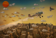 The Chase (brian_stoddart) Tags: sky newyork plane flying pigeon aircraft insects toonish
