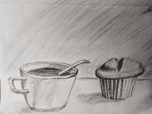 Coffee and muffin. #Drawing #StillLife