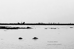 """Untitled"" (jamiul_adnan) Tags: shadow sea people black beach beautiful saint boats moving rocks expression silhouettes martins bangladesh bazar coxs"