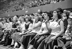 Girls Basketball0005.jpg (The Digital Shoebox) Tags: girls people 1955 sports basketball crowd iowa fans cheer desmoines sportsphotography desmoinesregister vetsauditorium 6on6