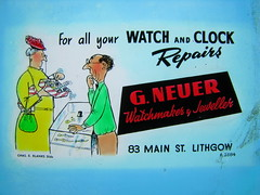 Neuer Watchmaker and Jeweller (Blue Mountains Local Studies) Tags: cinema glass advertising slides watchmaker lithgow jeweller